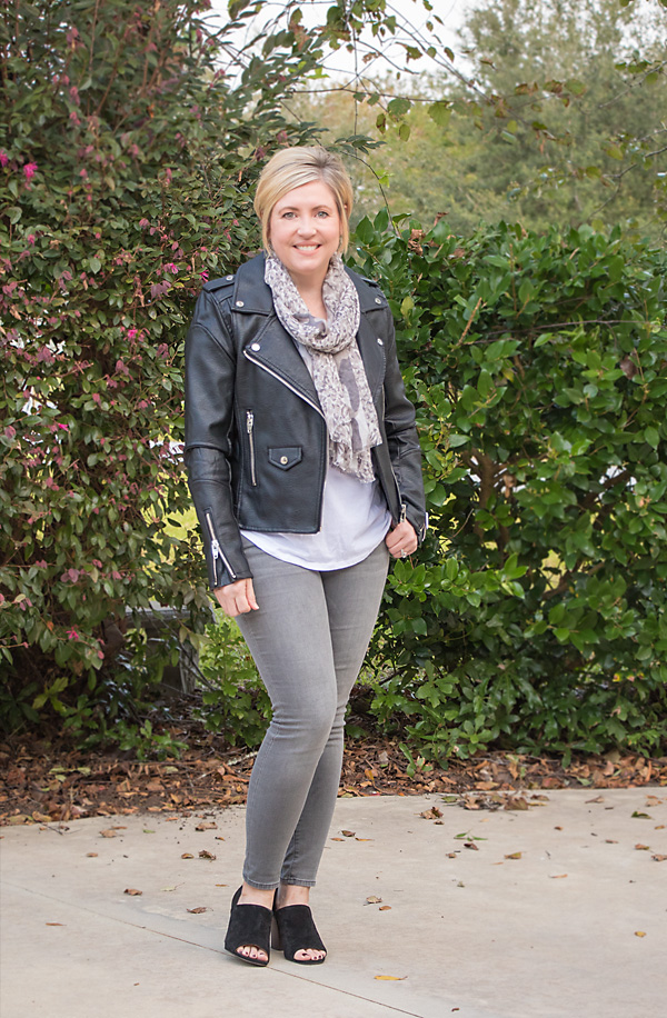 white tee outfit, black moto jacket, fall outfit, grey jeans outfit