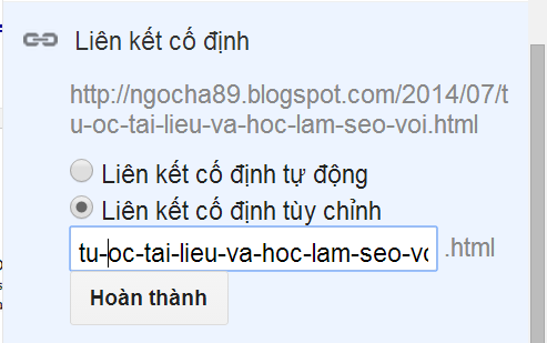 tu hoc lam seo voi blogspot URL