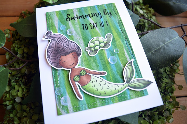 Card featuring Honey Bee Stamps Swimming By Mermaid by Jess Crafts