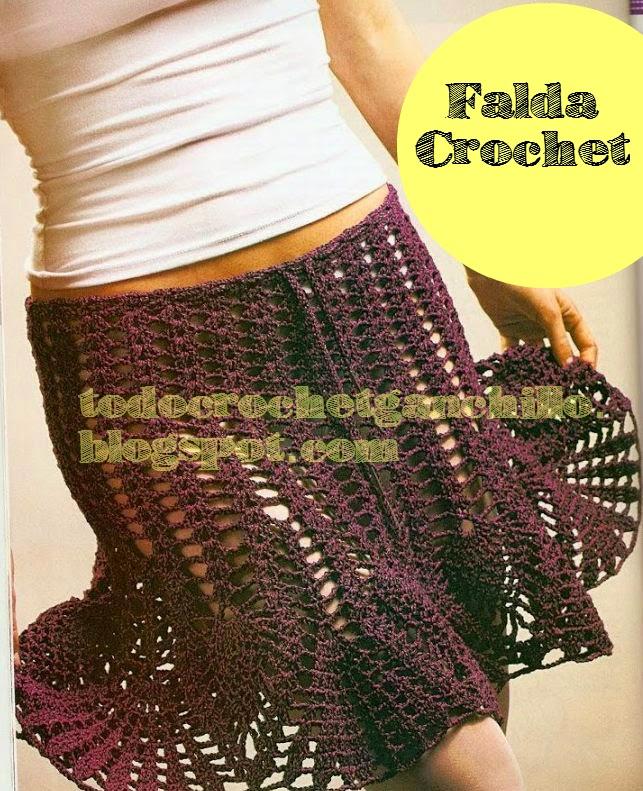 Pollera tejida al crochet con punto piña