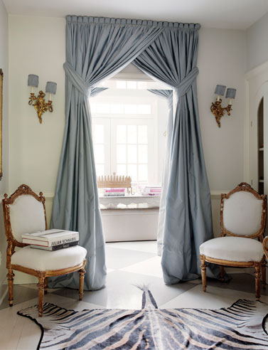 In This Room Suellen Has Designed A Fixed Curtain Which Overlaps At The Top And Is Held Back With High Tiebacks Using Full Height Of Increases