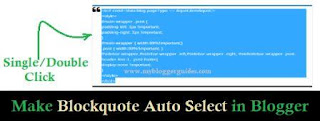 make auto select blockquote in blogger