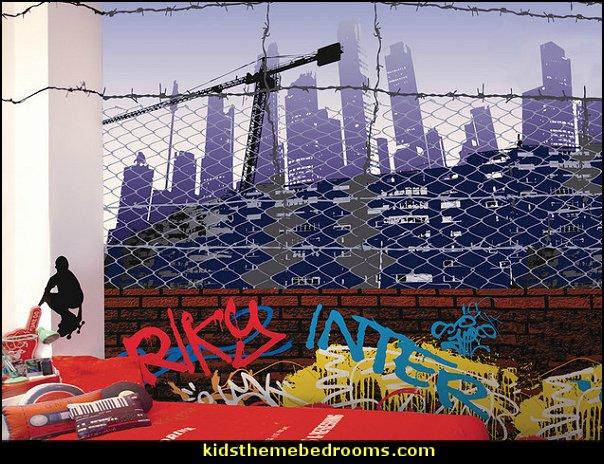 City Wallpaper Mural   Graffiti wall murals - Urban style punk theme bedroom ideas - skateboarding theme bedroom decorating -  Urban wall Murals - graffiti wallpaper murals - graffiti wall designs - graffiti bedrooms furniture - graffiti wall decal
