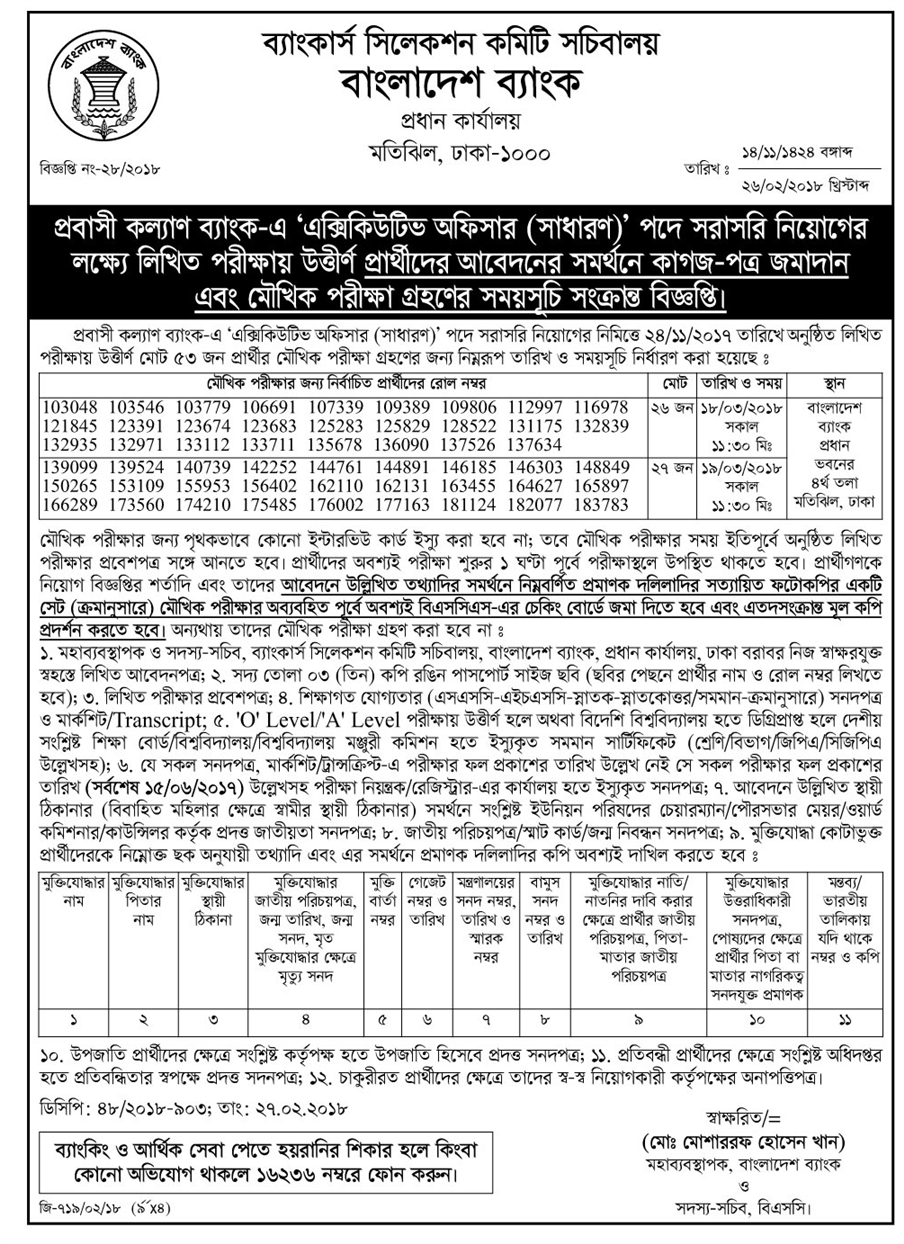 Probashi Kallyan Bank Executive Officer (General) Submit Papers and Viva Exam Date