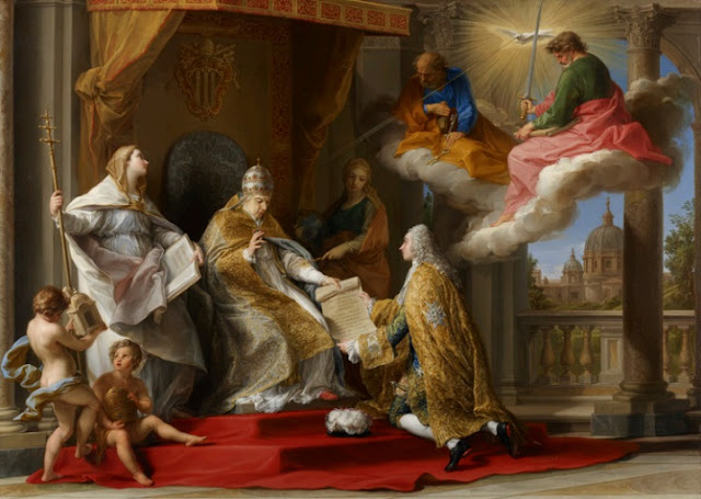 "obra de arte renacentista, religioso, pintura al óleo, Pompeo Girolamo Batoni, (Italian, Rome, 1708–87), ""Pope Benedict XIV Presenting the Encyclical ""Ex Omnibus"" to the Comte de Stainville, Later Duc de Choiseul"", 1757."