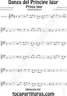 Partitura de La Danza del Principe Igor de Borodin para Clarinete by Borodin Polovetzian Dance No.17 Dance Prince Igor Sheet Music for Clarinet Music Scores