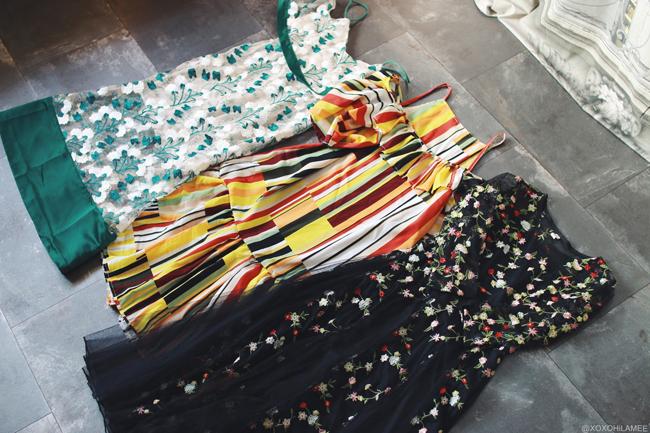 ファッションブロガー日本人、2016年7月購入品、SheIn ストラップオフショルダーワンピース マルチカラーと花柄刺繍、ブラック花柄刺繍ワンピース