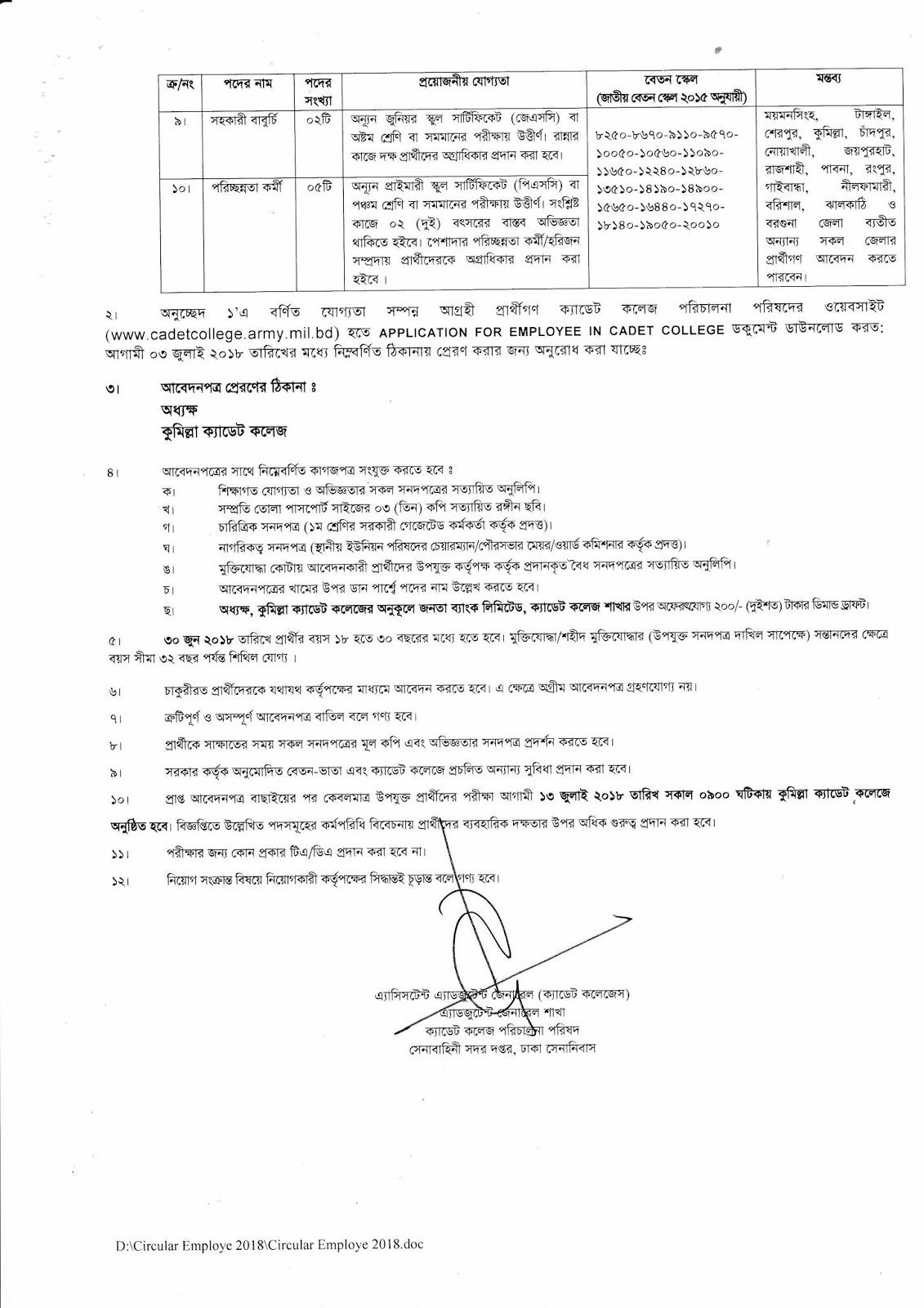 Bangladesh Cadet College Job Circular 2018