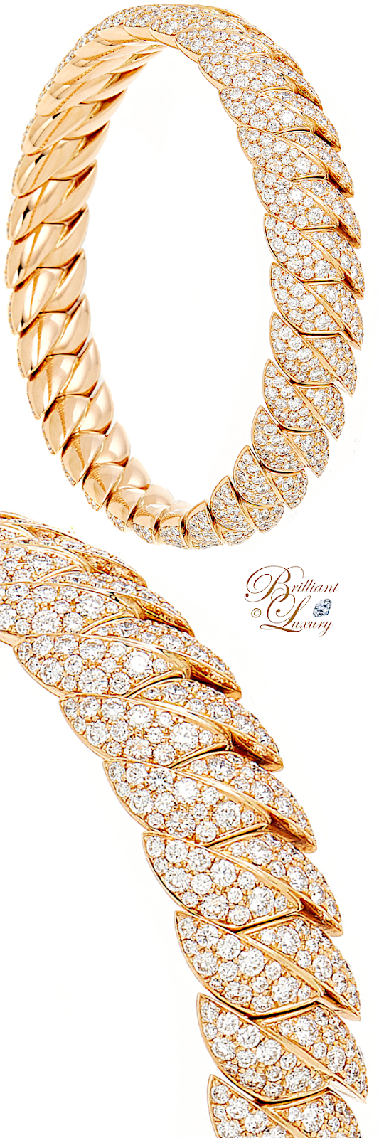 Brilliant Luxury♦Sidney Garber Diamond Skinny Wave Link Bracelet In Rose Gold