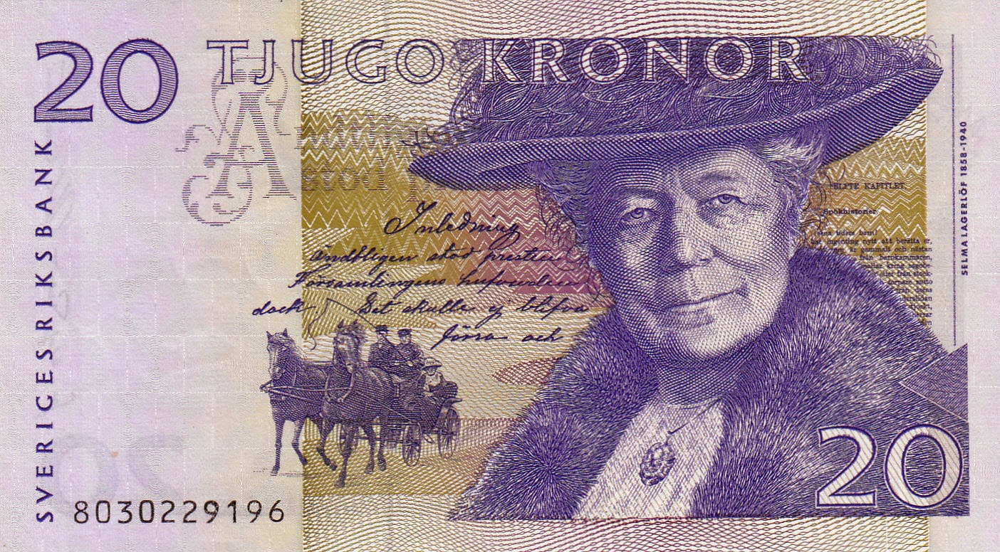 Sweden Currency 20 Swedish Krona banknote Selma Lagerlöf