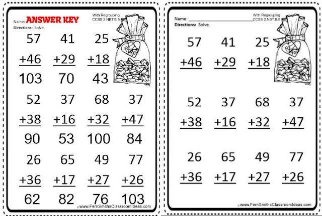 FREE Valentines Day Two Digit By Two Digit Addition Center - Fern ...