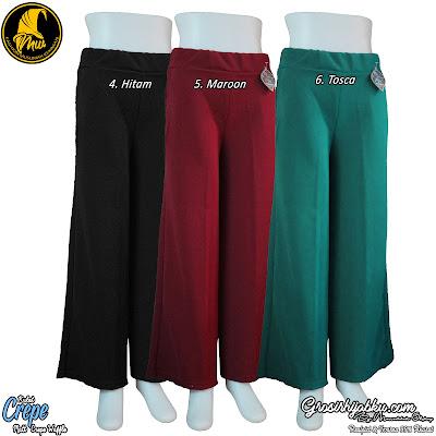 Celana kulot bahan crepe model panjang dengan warna polos