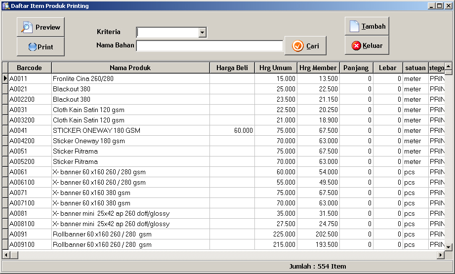 software kalkulasi percetakan