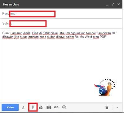 Masukan Penerima, Judul Dan Isi Pesan Singkat - Cara Mengirimkan Lamaran Lewat Email