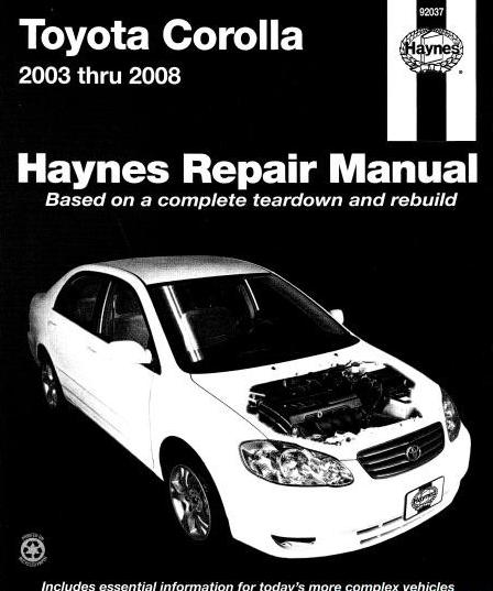 toyota corolla 2003 thru 2008 haynes repair manual automotive rh autocars9 blogspot com Haynes Manual Pictures Back toyota corolla haynes manual pdf