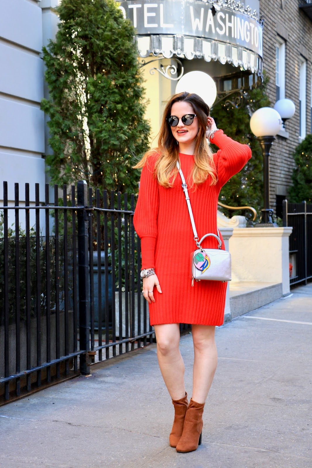 Nyc fashion blogger Kathleen Harper wearing a sweater dress from Ann Taylor