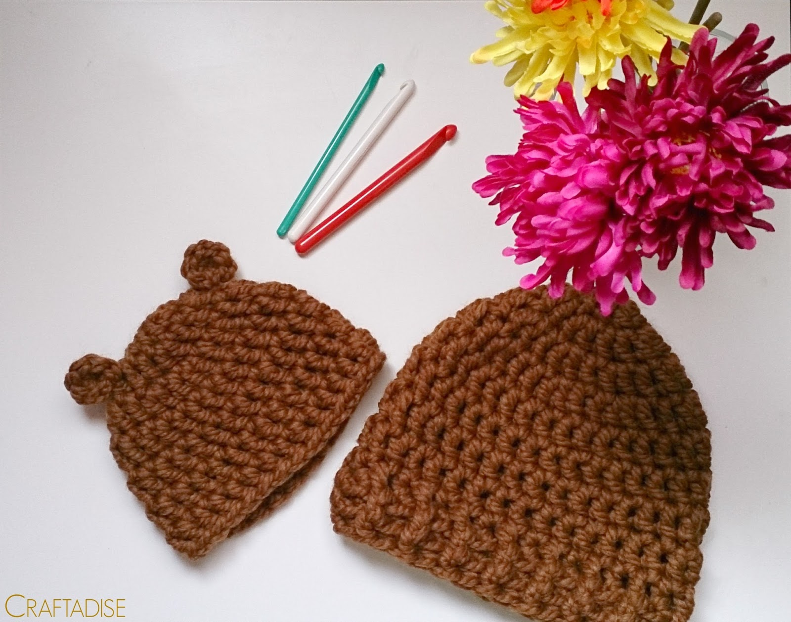 Crochet baby bear hat + woman man hat