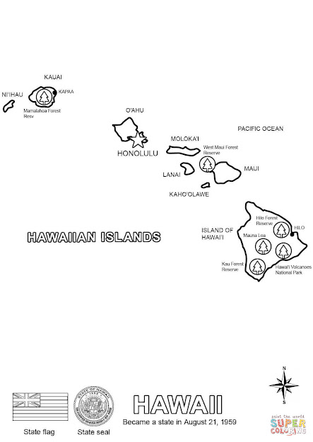 Click The Hawaii Map Coloring Pages To View Printable Version Or Color It  Online Patible With Ipad And Android Tablets