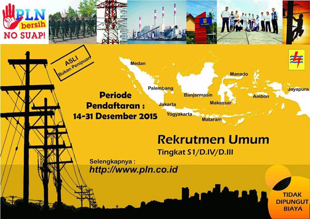 Rekrutmen Umum PT PLN (Persero) Untuk S1, D.IV dan D.III Tahun 2015