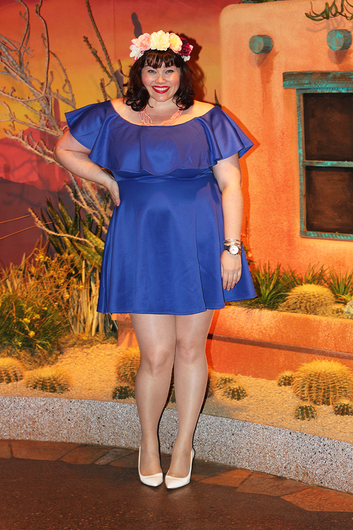 Plus Size Blogger Amber from Style Plus Curves in Blue Soprano Ruffle Off the Shoulder Dress