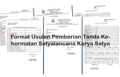 Format Usulan Pemberian Tanda Kehormatan Satyalancana Karya Satya
