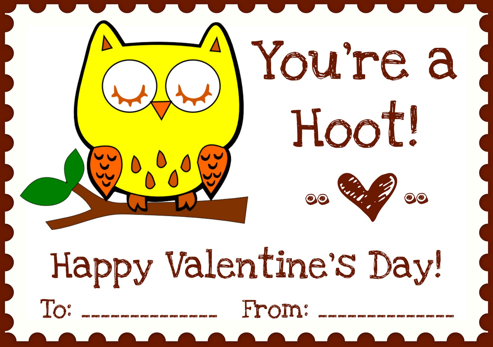 Printables Owl Love You Valentines