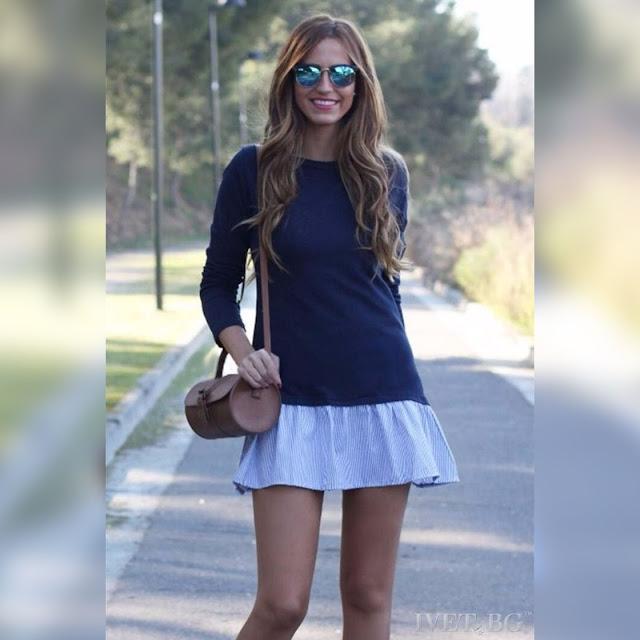 Μακρυμάνικο χρωματιστό μπλουζοφόρεμα MILITA