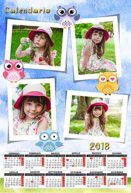 Calendario bambini con spazi per 4 fotografie