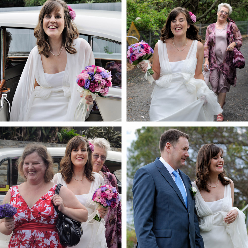 The bride arrives in style in a vintage Rolls Royce car with mother and sister. Garden Wedding Photographer Sydney,