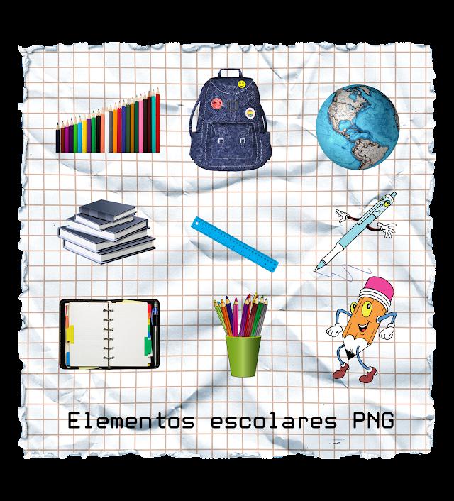Elementos y objetos escolares en PNG | Fotomontajes | Clipart