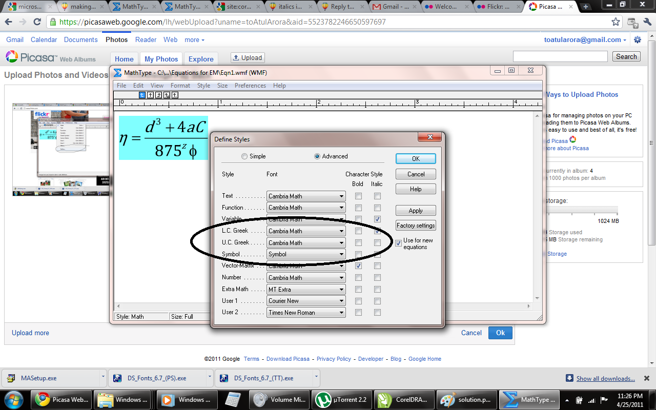 Adding equations in Corel Draw using Math Input Panel with