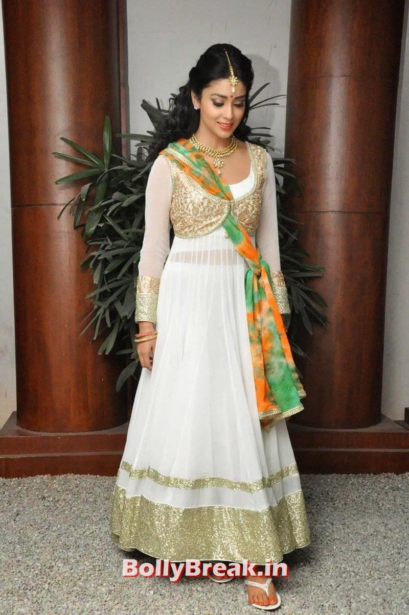 Shriya Saran Images, Shriya Saran Latest Hot HD Pics in White Anarkali Dress