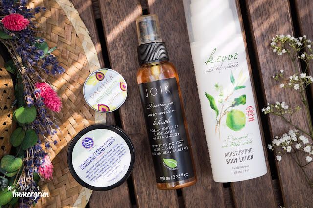 Soapwalla Deodorant Cream Citrus, Pacifica Solid Perfume Mediterranean Fig, Joik Bronzing Bodyoil with Carrot Oil and Natural Minerals / Töntendes und schimmerndes Körperöl, Kivvi Moisturizing Body Lotion Bergamot and Litsea Cubeba