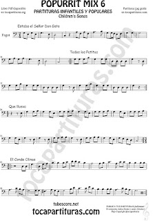 Mix 6 Partitura de Fagot Estaba el Señor Don Gato, Todos los Patitos, Qué llueva Infantil, El Conde Olinos Mix 6 Sheet Music for Bassoon Music Scores