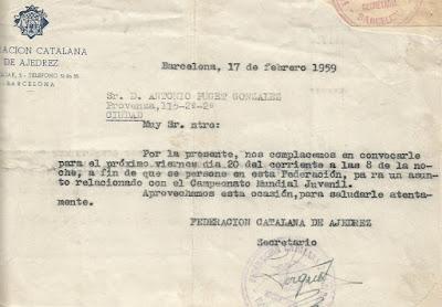 Carta de la Federación a Antoni Puget sobre el Campeonato Mundial Juvenil