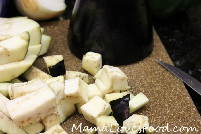 Easy Italian Soup in the Crock Pot - cutting eggplant