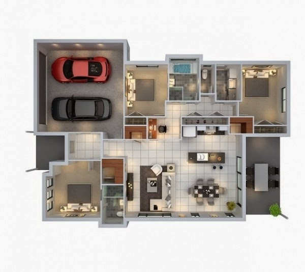 Minimalist 3 Bedroom Home Design Layout With Car Garage
