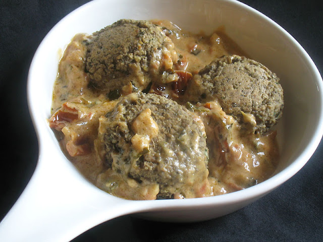 Lentil Falafel with Coconut Fenugreek Sauce