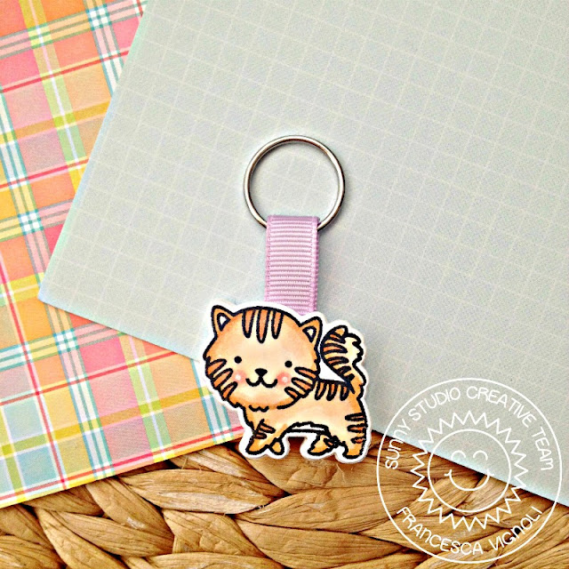Sunny Studio Stamps: Purrfect Birthday Stamped Kitty Key Chain by Franci Vignoli