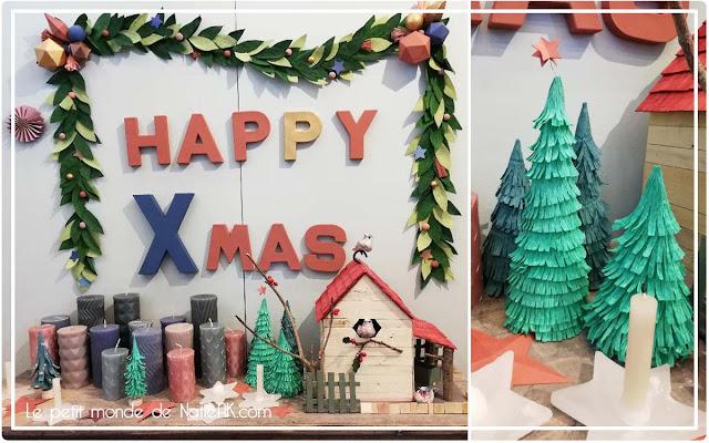 Idées de décoration de Noël (sapin en papier crépon et guirlande en papier) Salon Créations et savoir-faire