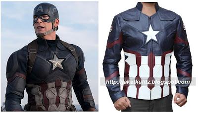 Desain jaket Kulit Captain America Civil War