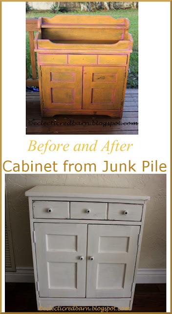 Eclectic Red Barn: Before and After of junk pile cabinet