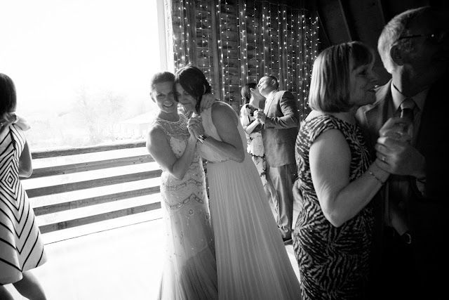 Dancing at their barn reception at Jonna and Heather's Inn at West Settlement Wedding by Karen Hill Photography