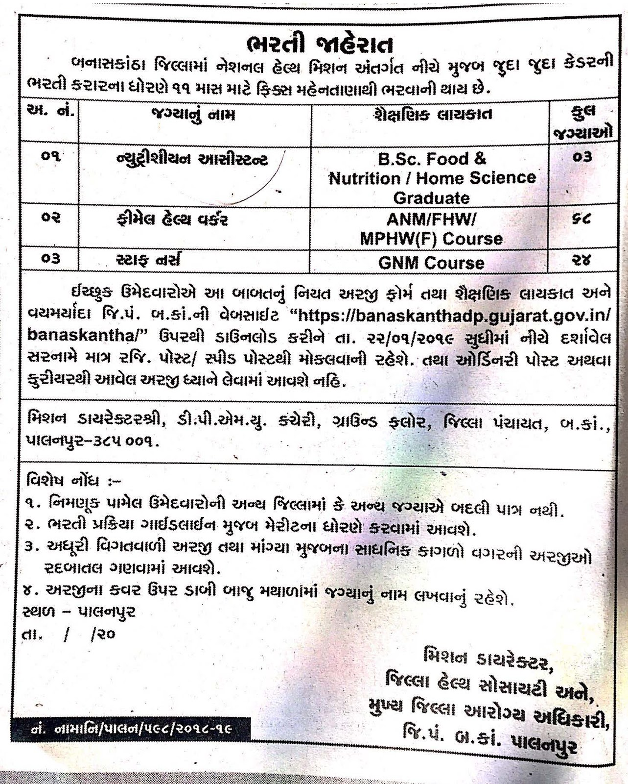 National Health Mission, Banaskantha Recruitment for Various Posts