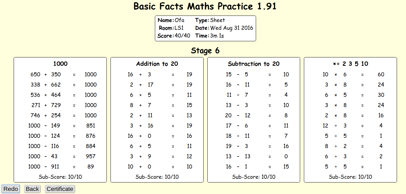 Ofa @ Panmure Bridge School: Prototec - Basic Facts Maths ...