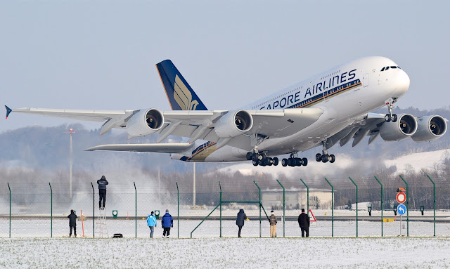 A380-800 of Singapore Airlines Takeoff at Kloten