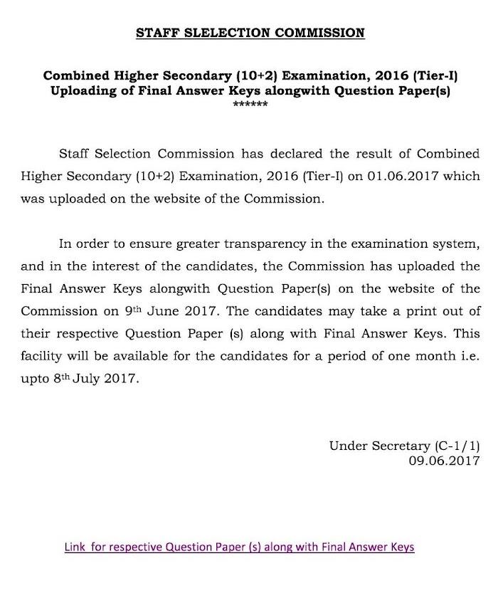 एसएससी ने CHSL परीक्षा टियर - I का उत्तर पत्र जारी किया