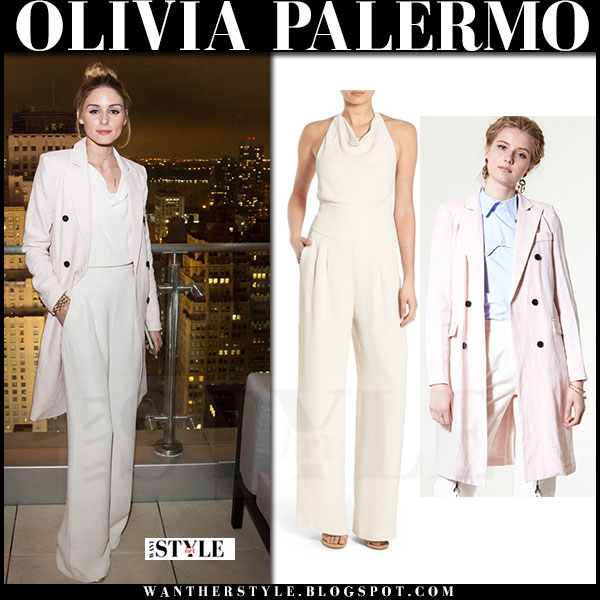 Olivia Palermo in pink long blazer storets momo and white jumpsuit chelsea28 what she wore