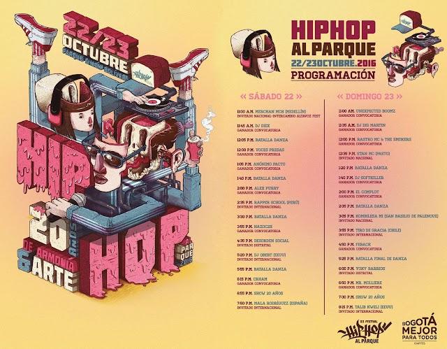 Programacion oficial #HIpHopAlParque2016 | Cartel de artistas