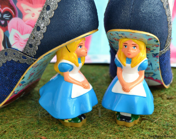side and front view of Disney Alice character heel on boot
